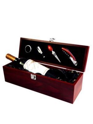 Caja de Madera Vino 4 Accesorios